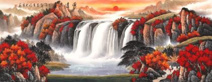 【已售】吴东 小六尺《源远流长》 著名易经风水画家