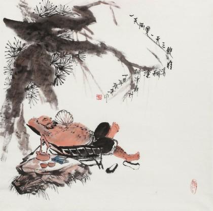 张春奇 四尺斗方《难得糊涂》 徐悲鸿纪念馆艺术中心理事(询价)