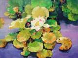 【已售】郭莹 《映日荷花别样红》北京著名女油画家