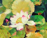 郭莹 《映日荷花别样红》北京著名女油画家