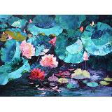郭莹 《荷塘》北京著名女油画家