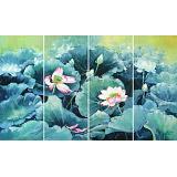 郭莹 《荷韵幽香》四联 北京著名女油画家