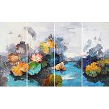 郭莹 《荷香》四联 北京著名女油画家