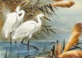 【已售】孙浩群 《芦塘白鹭醉金秋》 八十岁学院派绘画名家(询价)