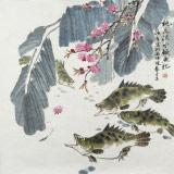 【已售】孙浩群 《桃花流水鳜鱼肥》 八十岁学院派绘画名家(询价)
