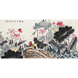 朱祖义 四尺《荷塘清趣》 中国老子书画院副院长
