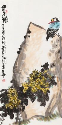 刘纪 三尺国画《望秋》 河南著名老画家图片
