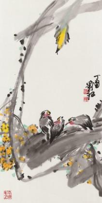 刘纪 三尺国画《秋语》 河南著名老画家