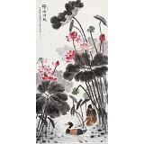 【已售】朱祖义 四尺《荷塘清趣》 中国老子书画院副院长