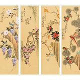 【已售】凌雪 四条屏《紫气东来》 北京美协会员