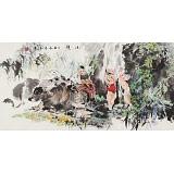 尹和平 四尺《小憩》 当代乡土童趣绘画名家