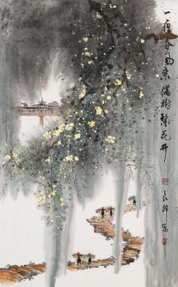 【已售】谭良干 大三尺《一夜春风来 满树梨花开》 贵州最新博彩大全名家