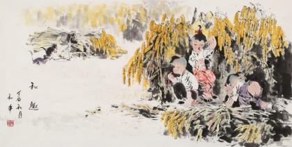 尹和平 四尺《秋趣》 当代乡土童趣绘画名家