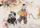 尹和平 四尺《忙秋》 当代乡土童趣绘画名家