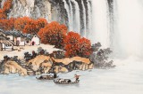 【已售】蒋元发 小六尺《源远流长 秋山雅居》 广西著名山水画家(询价)