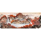 【已售】蒋元发 小六尺《万山红遍 源远流长》 广西著名山水画家