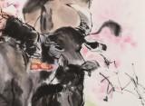 【已售】尹和平 四尺斗方《慢游图》 当代乡土童趣绘画名家