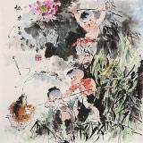 尹和平 四尺斗方《协力》 当代乡土童趣绘画名家