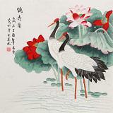 凌雪 四尺斗方《鹤寿图》 北京美协会员