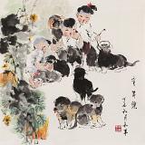 尹和平 四尺斗方《童年乐》 当代乡土童趣绘画名家
