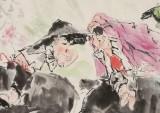 尹和平 四尺《杏花春雨》 当代乡土童趣绘画名家