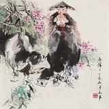 尹和平 四尺斗方《雨绵绵》 当代乡土童趣绘画名家