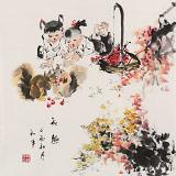 尹和平 四尺斗方《秋趣》 当代乡土童趣绘画名家