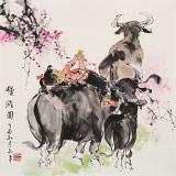 尹和平 四尺斗方《慢游图》 当代乡土童趣绘画名家