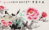 王宝钦 四尺对开《花开富贵》 当代花鸟牡丹花名家(询价)