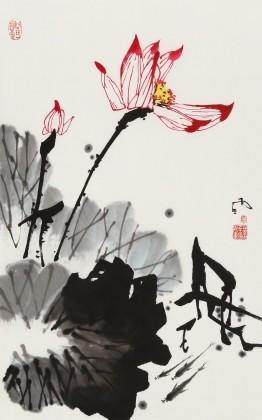 【已售】苗雨 四尺三开《映日荷花别样红》 辽宁工美教授 师从吴冠中