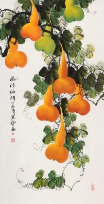 【已售】黄艺四尺招财辟邪葫芦画《福禄临门》