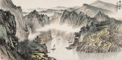 【已售】刘金河 四尺《清江帆影》 国家画院山水名家