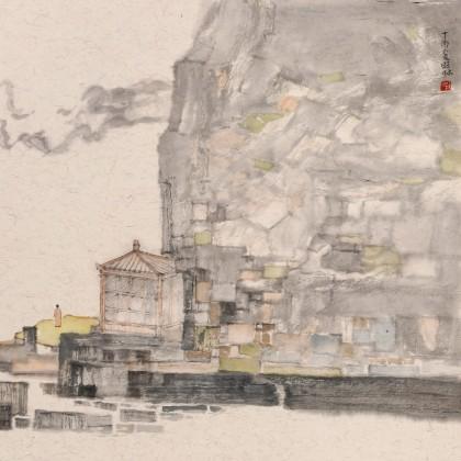 管旺林 三尺斗方《山静云悠然》 广西省美协会员 学院派画家