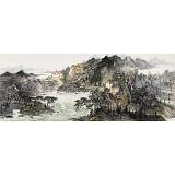 管旺林 小六尺《秋水共长天一色》 广西省美协会员 学院派画家
