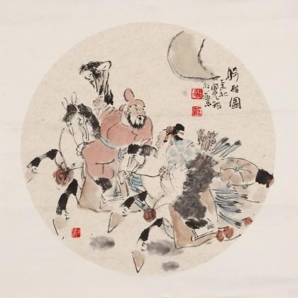 裴开元 扇面《骑猎图》 中美协会员 吉林艺术学院教授