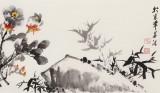 【已售】王宝钦 四尺对开《富贵吉祥》 当代花鸟牡丹花名家(询价)