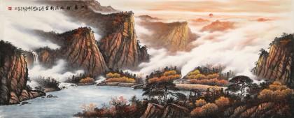 张慧仁 小八尺《一夜秋风满树金》 广西山水画家协会常务理事