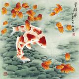 南海禅寺 妙林居士 四尺斗方《双锦图》