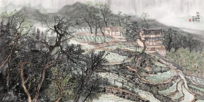 管旺林 四尺《江南春雨》 广西省美协会员 学院派画家