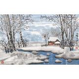 【已售】何一鸣 四尺三开《冬日的白桦林》 冰雪画派画家 师从于志学