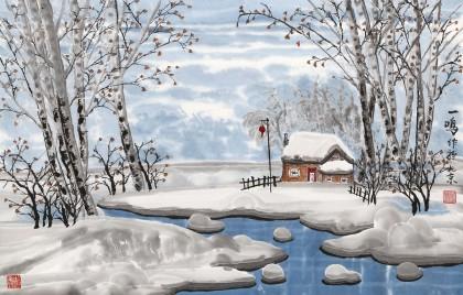 【已售】何一鸣 四尺三开《冬日的白桦林》 冰雪画派著名画家