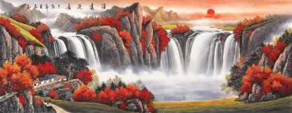 吴东 小六尺《源远流长》 著名易经风水画家