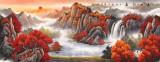 吴东 小六尺《万山红遍》 著名易经风水画家