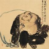 【已售】周自豪 四尺斗方《笑佛》 当代著名禅意画家