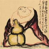 周自豪 四尺斗方《弥勒佛》 当代著名禅意画家