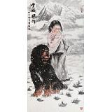 王贵邱 四尺《雪域风情》 当代著名藏獒画家