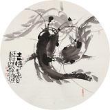 周自豪 扇面《吉祥三宝》 当代著名禅意画家