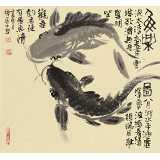 【已售】周自豪 三尺斗方《鱼乐图》 当代著名禅意画家
