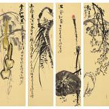 周自豪 四条屏精品《满堂和气》 当代著名禅意画家