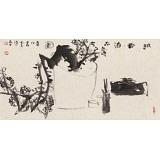 【已售】周自豪 四尺三开《赋香洁品图》 当代著名禅意画家